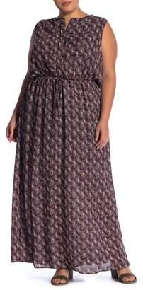 Daniel Rainn DR2 by Split Neck Tie Waist Maxi Dress (Plus Size)