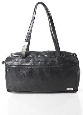 Perlina Black Leather Small Rectangular Satchel Handbag $29 thestylecure.com