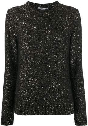Dolce & Gabbana round neck glitter jumper
