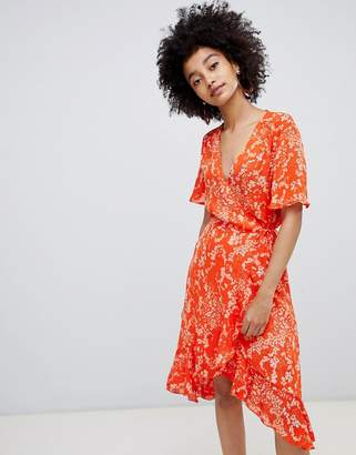 Soaked In Luxury Pleated Print Wrap Dress