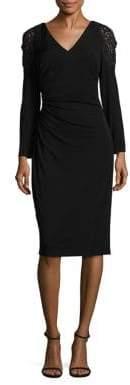 David Meister Lace Shoulder Sheath Dress