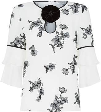 Andrew Gn Floral Tiered Sleeve Blouse