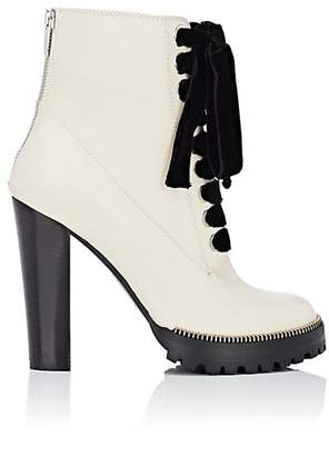Sergio Rossi Women's Zipper-Trimmed Leather Ankle Boots - White