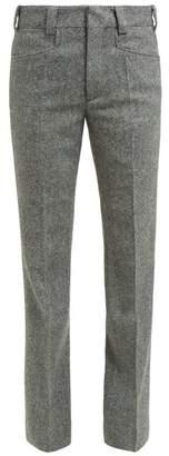 Maison Margiela Kick Flare Herringbone Wool Cropped Trousers - Womens - Light Grey