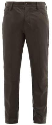 Ann Demeulemeester Leather Straight Leg Trousers - Mens - Black