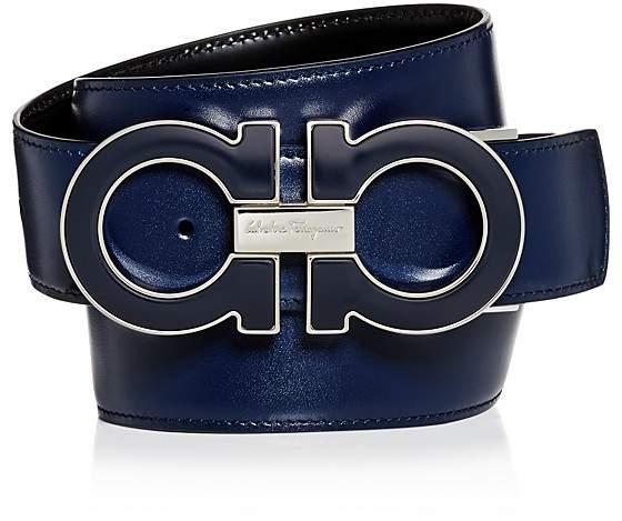 Salvatore Ferragamo Oversized Enamel Double Gancini Reversible Leather Belt