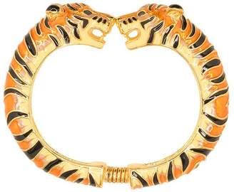 Kenneth Jay Lane Tan And Black Enamel Tiger Bracelet