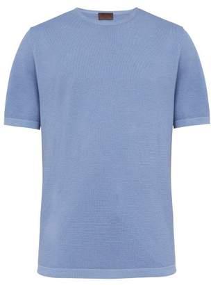 Altea Waffle Knit Cotton T Shirt - Mens - Light Blue