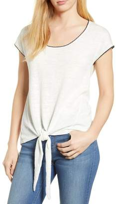 Caslon R R) Crochet Trim Tie Front Top (Regular & Petite)