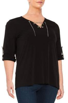 MICHAEL Michael Kors Plus Lace-Up Chain Knit Top