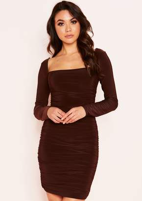 Missy Empire Missyempire Rochelle Chocolate Ruched Square Neck Dress d488410c7