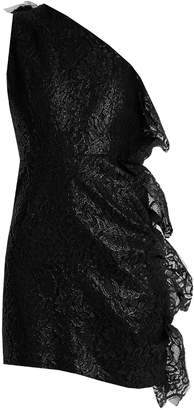 MSGM One-shoulder ruffled lace mini dress