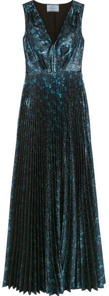 Prada - Plissé-jacquard Gown - Blue