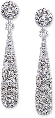 INC International Concepts I.n.c. Silver-Tone Teardrop Pave Drop Earrings