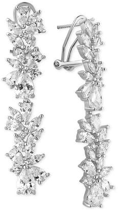 Tiara Cubic Zirconia Cluster Linear Drop Earrings in Sterling Silver