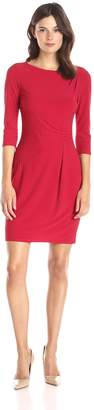 Lark & Ro Women's 3/4 Sleeve Side Ruched Jersey Knit Sheath Dress