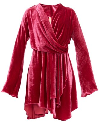 Maria Lucia Hohan Nola Draped Velvet Dress - Womens - Dark Pink