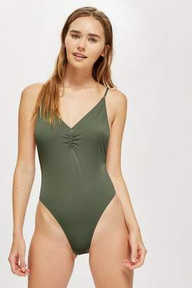 Topshop Ruched Front Plunge Swimsuit