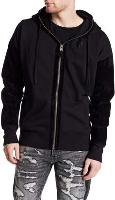 Cult of Individuality Faux Suede Mixed Media Zip Hoodie