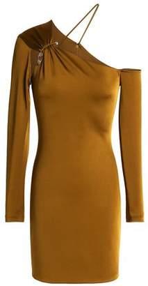 Cushnie et Ochs Asymmetric Embellished Satin-Jersey Mini Dress
