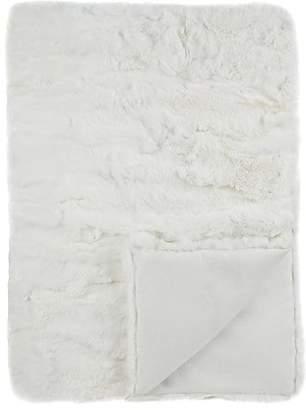 Adrienne Landau Rabbit Fur Throw - White