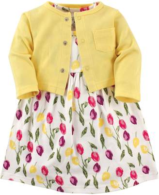 Luvable Friends Baby Girls Dress and Cardigan Set