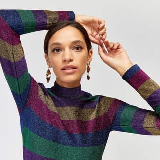 Warehouse Rainbow Sparkle Stripe Dress