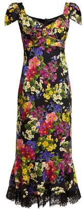 Dolce & Gabbana Primrose Print Silk Blend Charmeuse Midi Dress - Womens - Black Multi