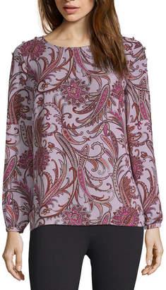 Liz Claiborne Long Sleeve Round Neck Georgette Blouse