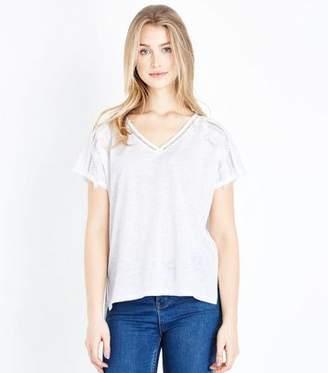 New Look White Tassel Trim Fine Knit T-Shirt