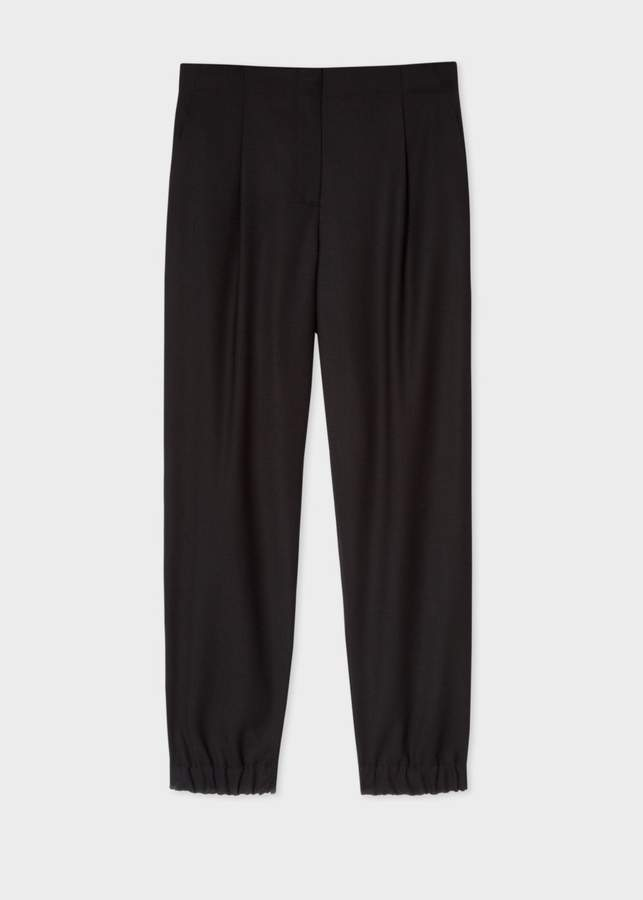 Women's Black Wool-Hopsack Trousers With Elasticated Cuffs