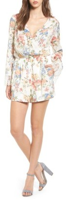 Women's Mimi Chica Lace Trim Kimono Romper $42 thestylecure.com