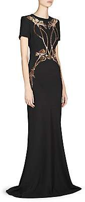 Alexander McQueen Women's Floral Embellished Evening Gown