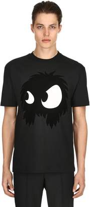 McQ Flocked Monster Cotton Jersey T Shirt