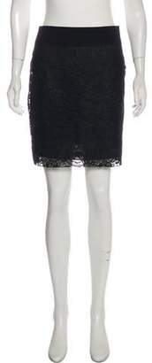 Reed Krakoff Wool and Guipure Lace Skirt