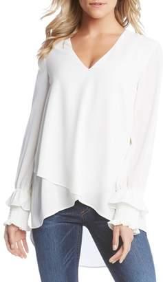 Karen Kane Smocked Sleeve Crossover Top