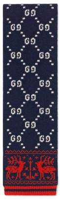 Gucci Children's GG reindeers wool scarf