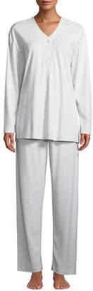 P Jamas Heathered Butterknit Button-Placket Pajama Set