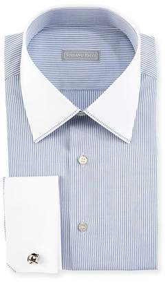 Stefano Ricci Contrast Collar/Cuff Thin-Striped Dress Shirt, White/Blue