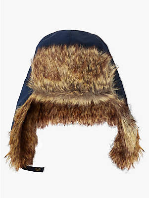 John Lewis & Partners Children's Ski Trapper Faux Fur Hat, Navy