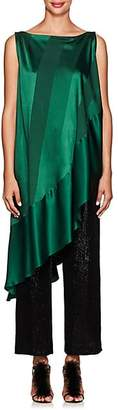 Zac Posen Women's Striped Satin & Crepe Asymmetric Top - Forest Green
