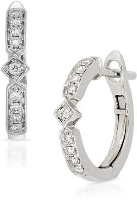 Bony Levy 18K White Gold Diamond Detail Geometric Huggie Earrings