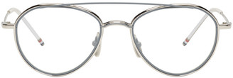 Thom Browne Silver TB 109 Aviator Glasses $650 thestylecure.com