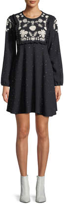 RED Valentino Sable Long-Sleeve Dotted Dress w/ Flower Embroidery