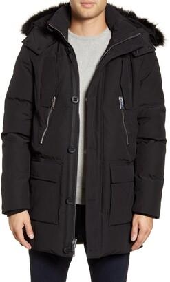 Karl Lagerfeld Paris Paris Faux Fur Trim Down & Feather Quilted Parka