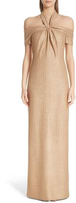 St. John Twisted Neck Band Column Gown