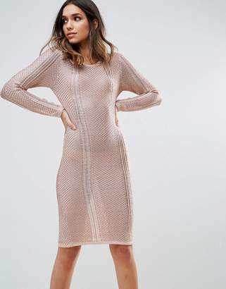 Wow Couture Metallic Crochet Knitted Midi Dress