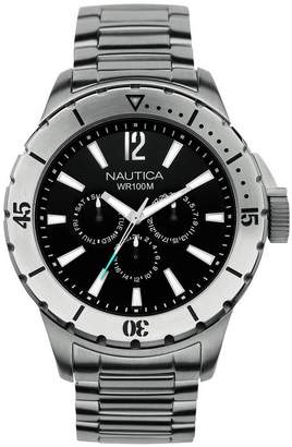 Nautica Men's Quartz Watch with Dial Chronograph Display and Silver Stainless Steel Bracelet A19569G