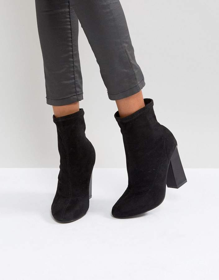 Boohoo Faux Suede Heeled Ankle Boot