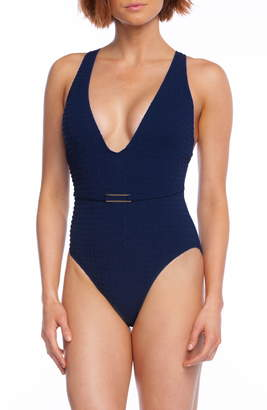 La Blanca Mio Plunge Point Belt One-Piece Swimsuit